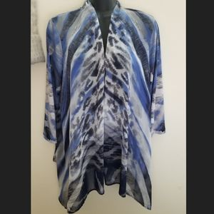 Chico's Travelers Open Front Chiffon Blouse